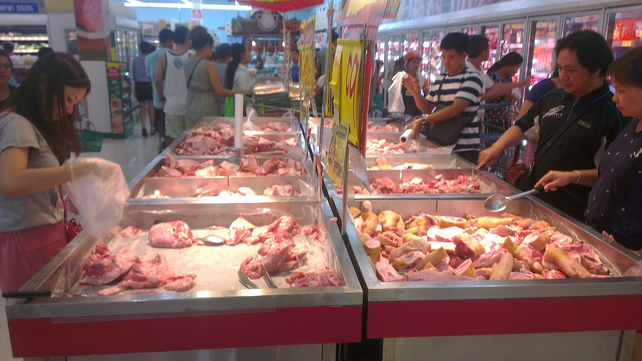 How you buy your meat in a Thailand Tesco!