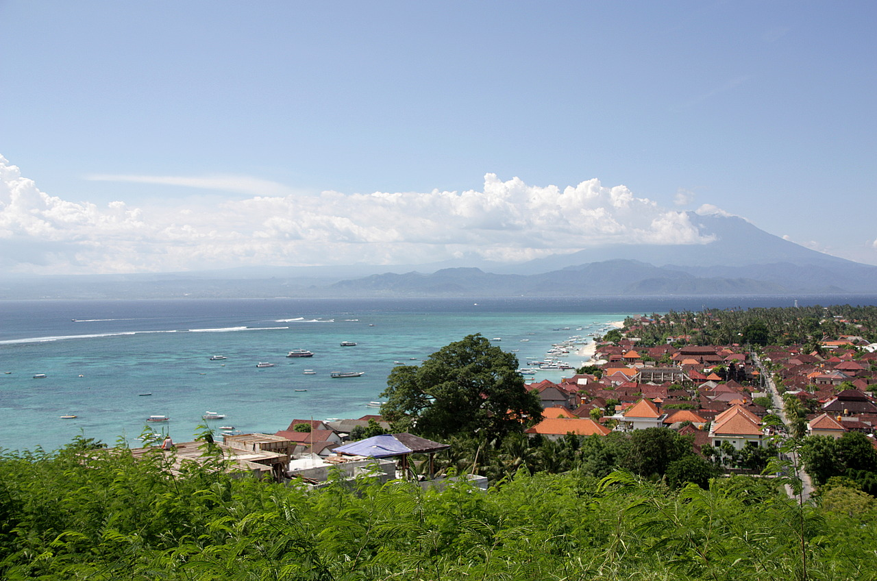 Lembongan bay with Mt Agung across on Bali.