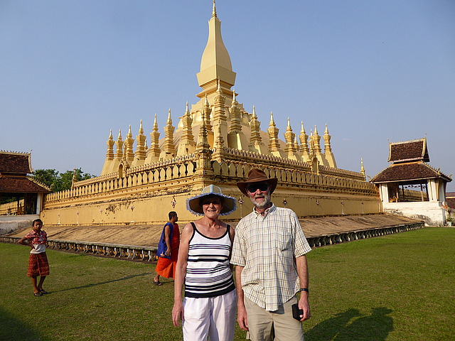 In front of That Luang Stupa
