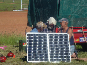 Ash,Tanks & Bob working on Tanks solar panels