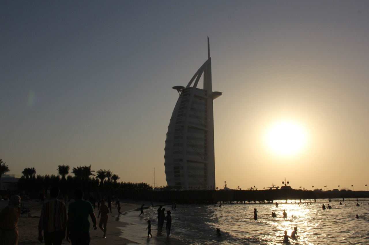 The Burj Al Arab at sunset