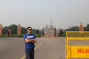 In front of the Parliament buildings