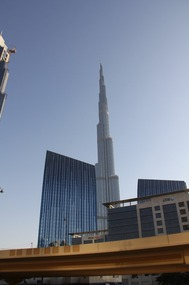 The Burj Khalifa towers over the other buildings