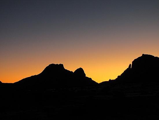 Sun set at Spitzkoppe, Namibia.