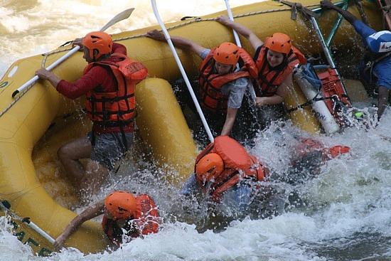 White water rafting Zambesi river, Zambia.