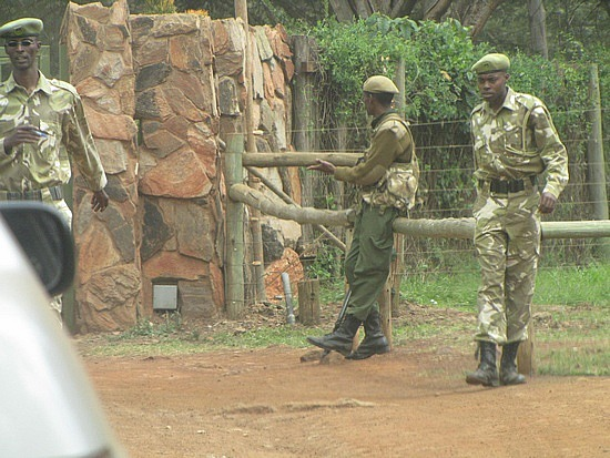 Armed soldiers outside the local National Park