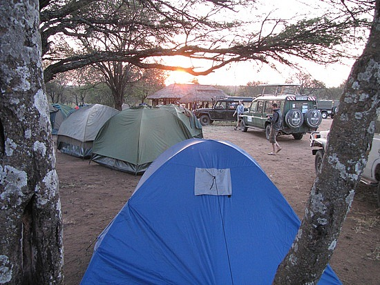 Sunrise over Serengeti campsite
