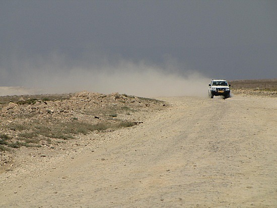 Hours driving along this dusty road