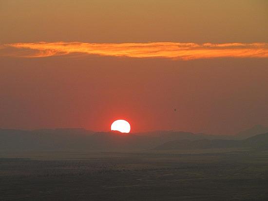 Hot air balloon in far distance
