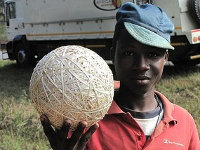 Ball made out of natural rubber, Malawi.