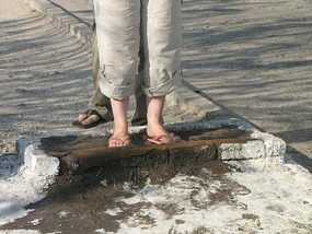 Feet dip to prevent foot and mouth, Botswana.
