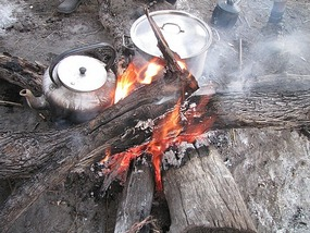 Cooking over the open fire, Zambia.