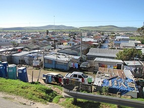 Shanty town outside Capetown, South Africa.