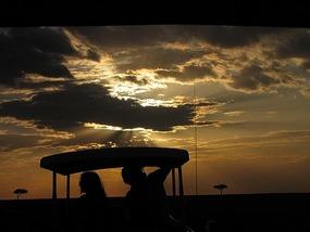 Sun about to set over the Masai Mara