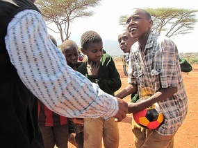 Ball was given to these local children