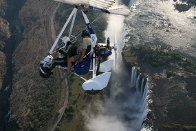 Microlight over Victoria Falls.