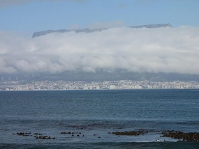 Table Mountain looms out of the cloud