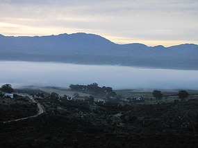 Morning mist as we head out of Highlanders camp