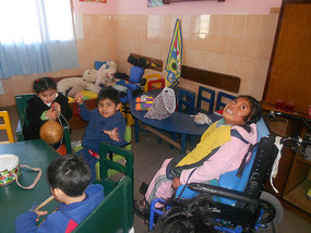 Children having fun playing with instruments