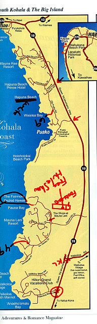 Map of Kohana Coast - Hawaii