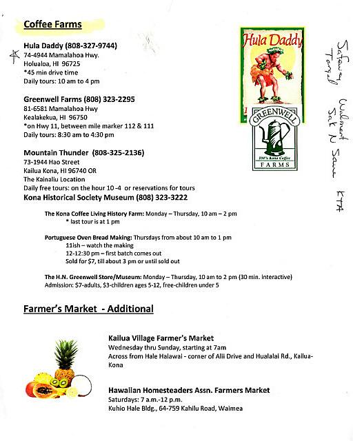 Concierge Marcia's Coffee Farms list