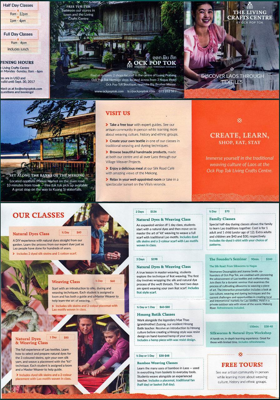 Ok Tok Pop - classes brochure - Luang Prabang