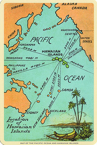 Map of Pacific Ocean with Hawaii