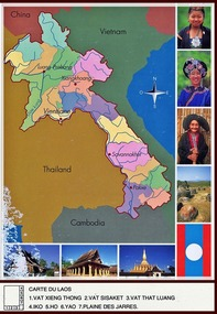 Map of Lao PDR - postcard