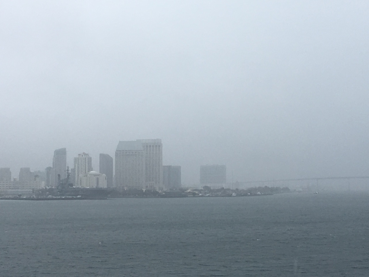 San Diego skyline in fog