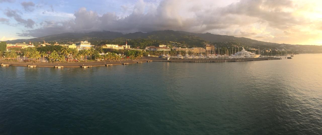 Panorama of Papeete at sunset