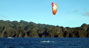 Kiting in front of Coron Island