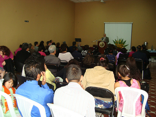 Scott speaking in Guatemala City