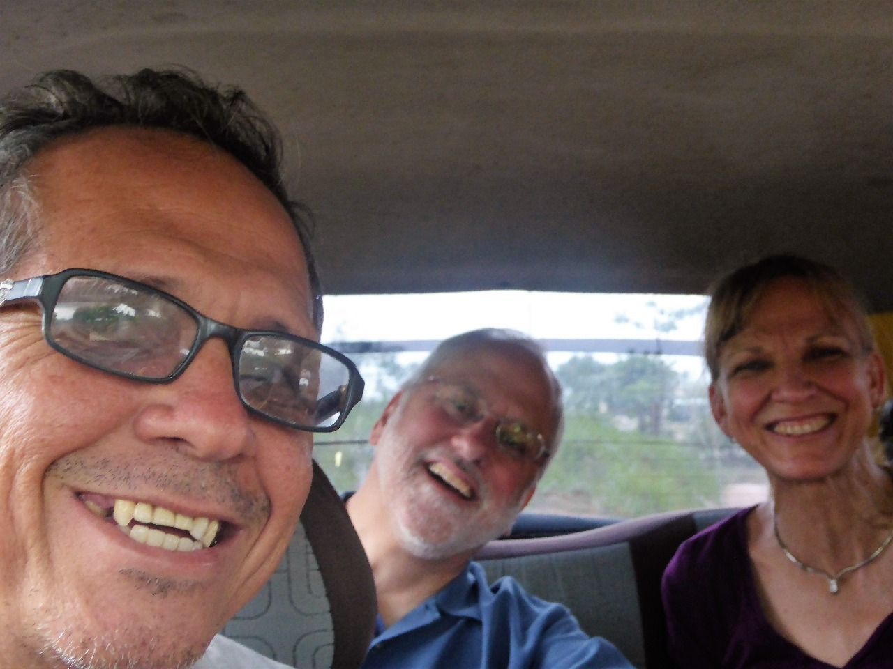 Oscar, Scott and Gayle in taxi