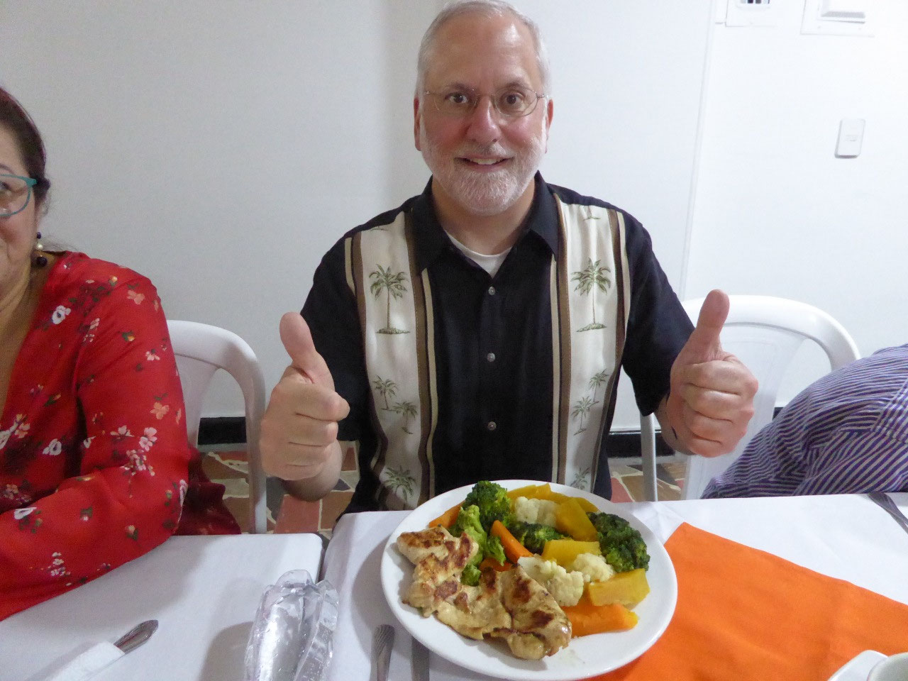 Scott is happy with his lunch