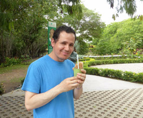 Rodolfo enjoys his tamarind drink