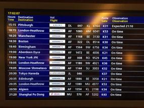 Flights departing CDG