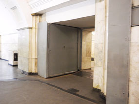 Blast doors at Mayakovskaya station