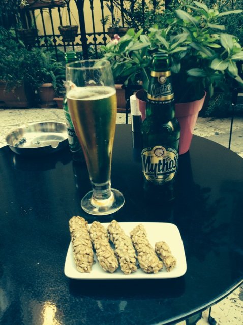 Greek beer and a sunflower seed snack