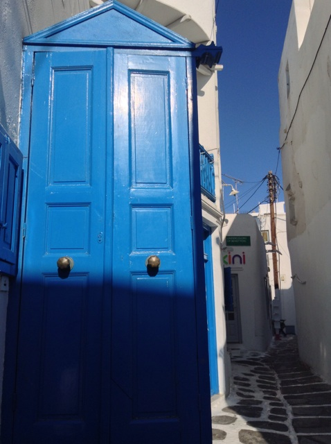 typical alleyways and blue and white buildings
