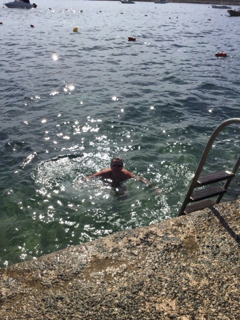 I swam in the COLD Mediterranean Sea today!