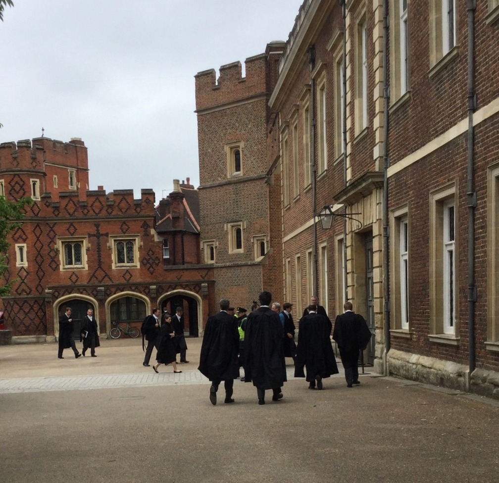 Students and faculty entering Eton College