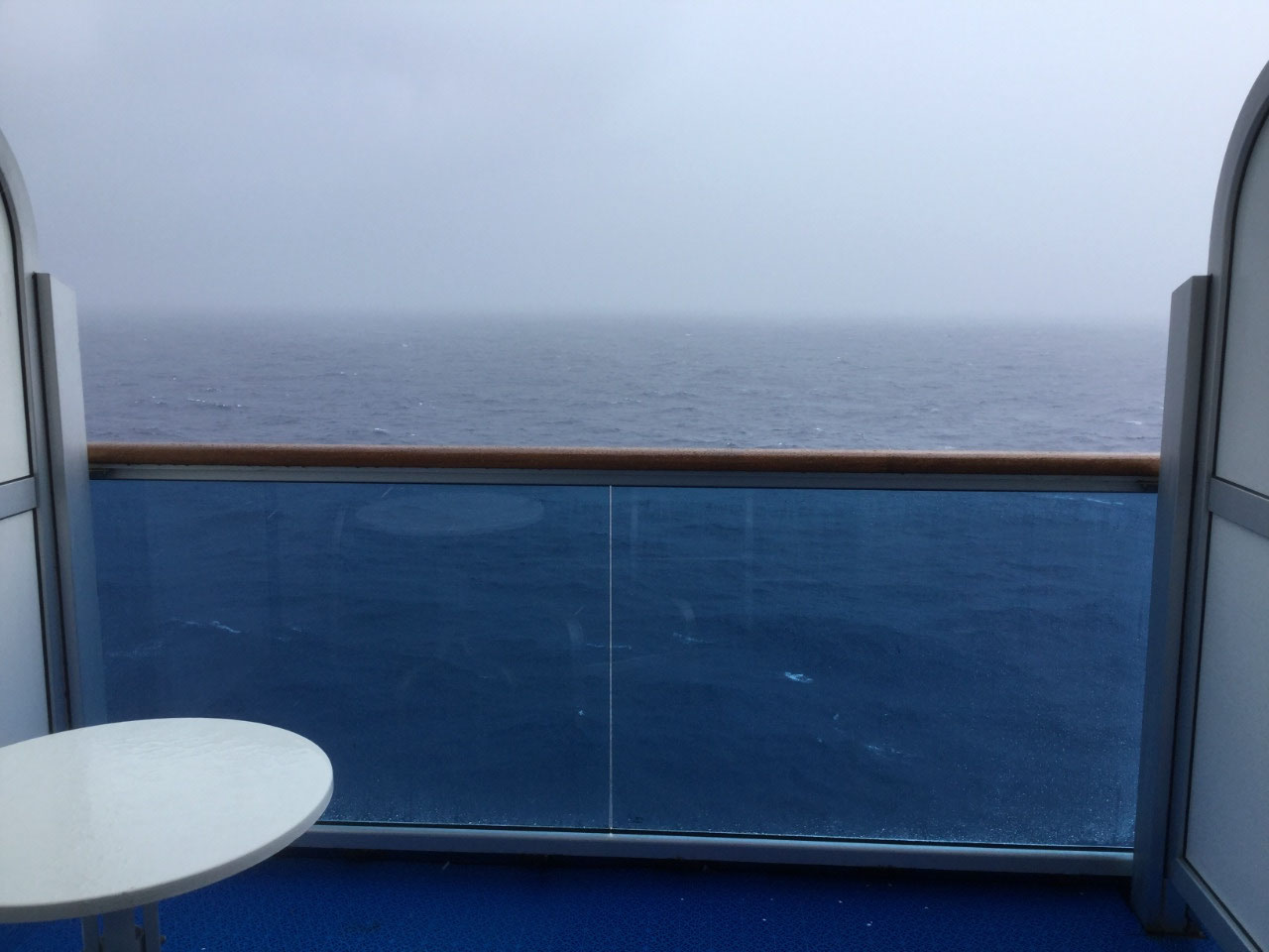 Rainy day at sea