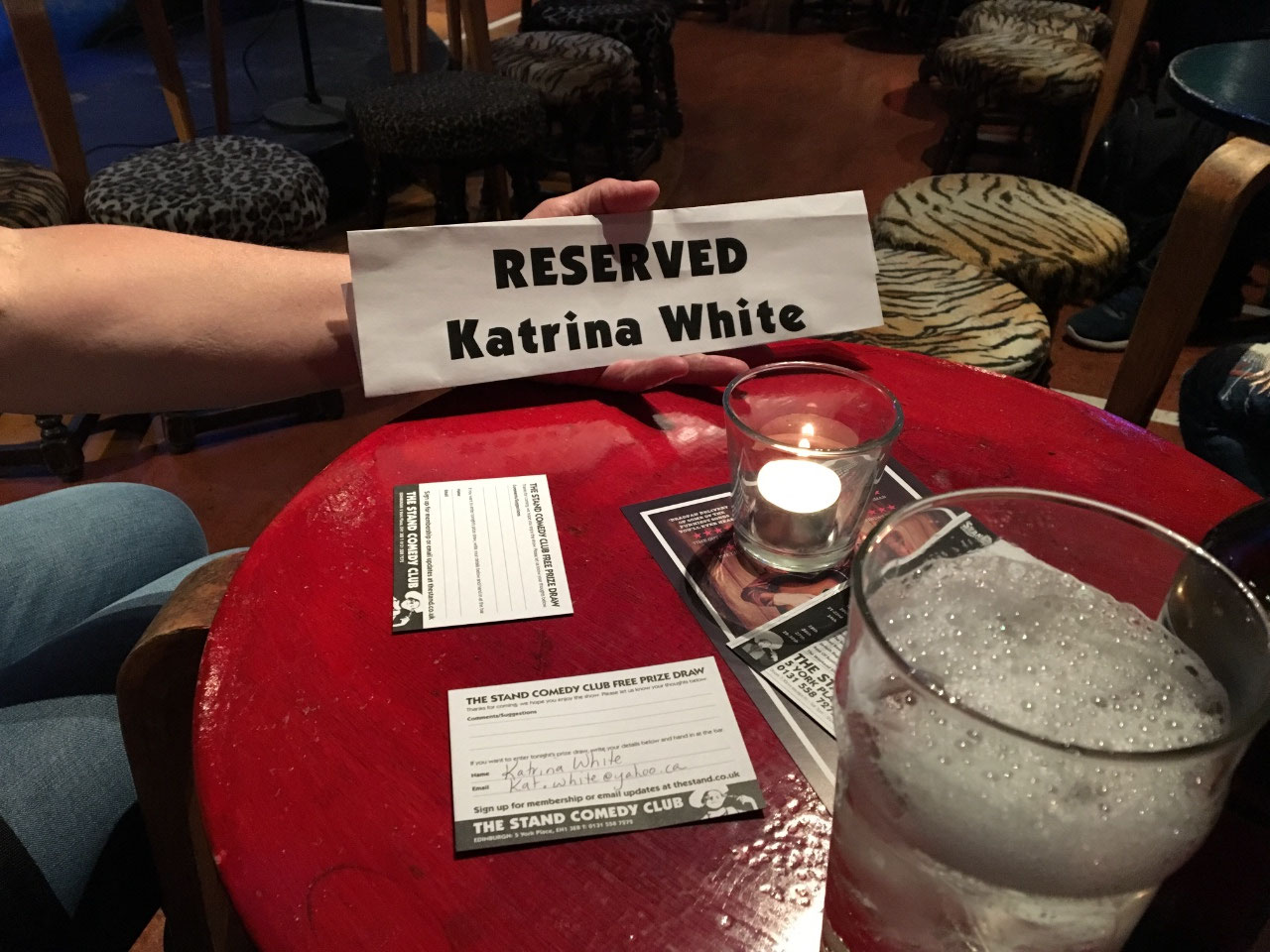 A reserved table at the Stand
