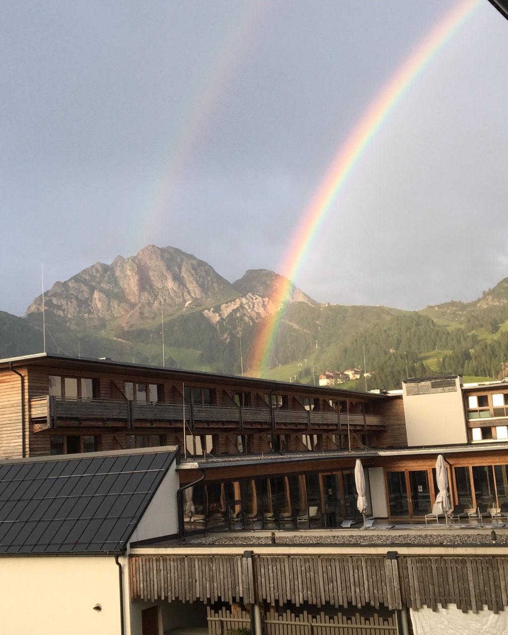 A rainbow during dinner