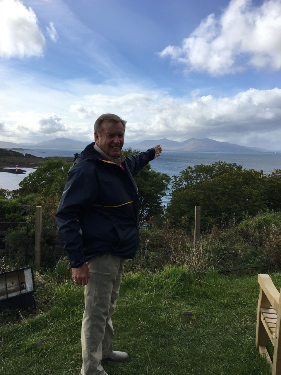 Kier pointing to his homeland - Isle of Mull