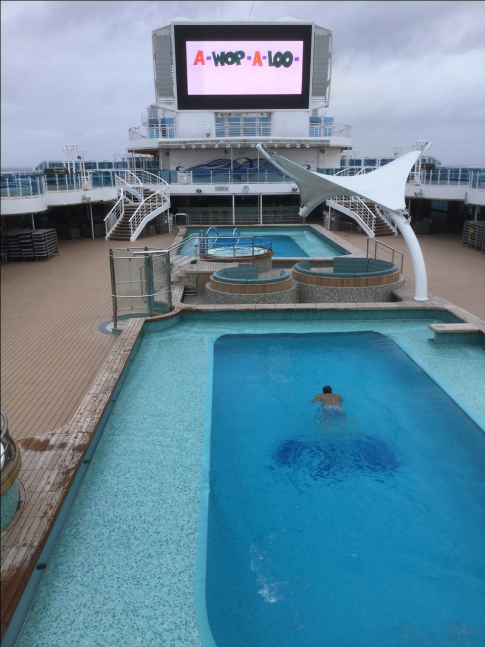 One brave swimmer, first of the cruise