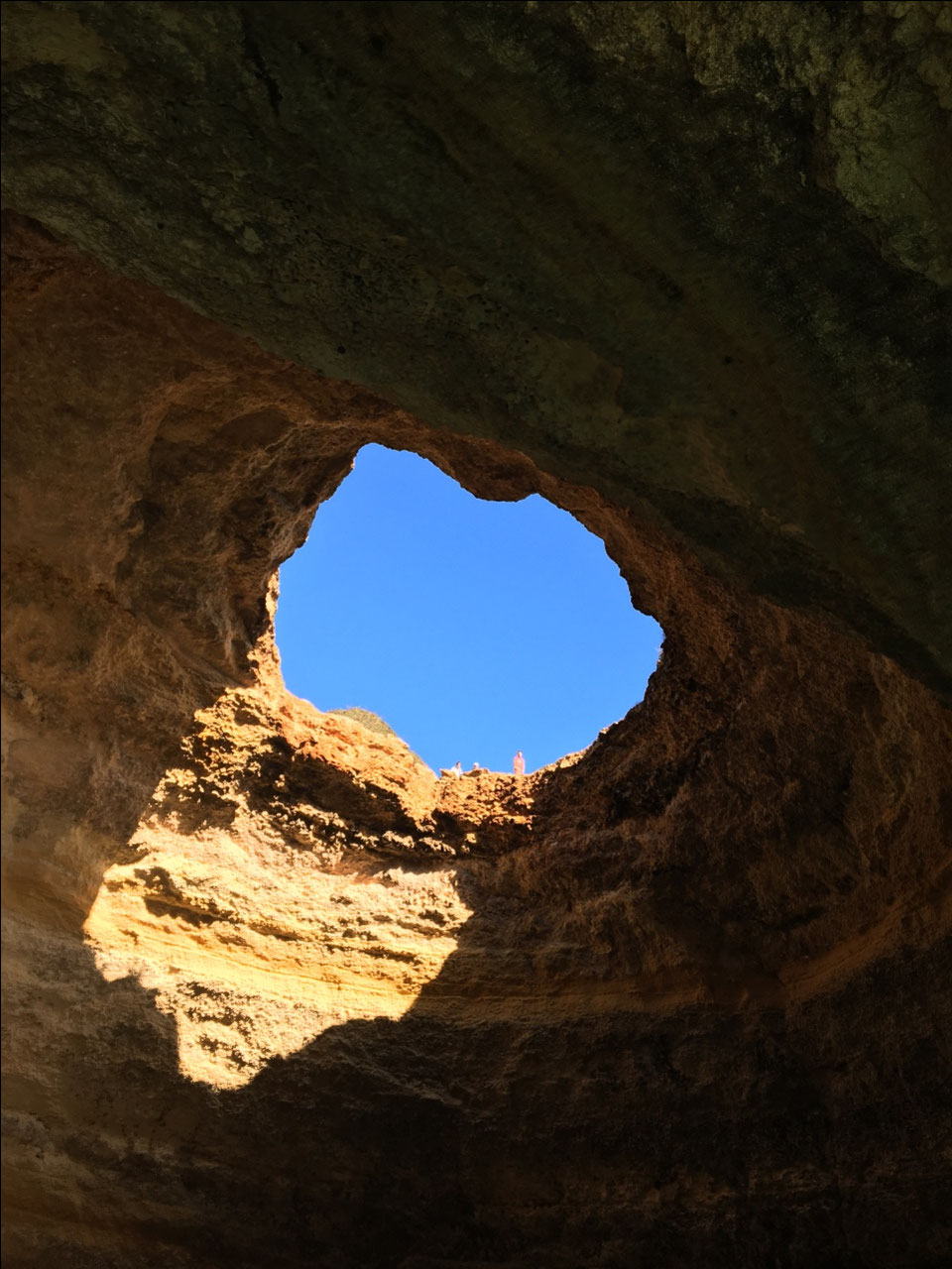 Looking up from inside a cave