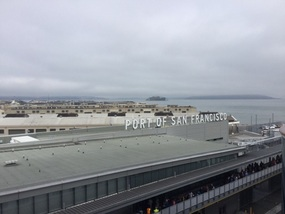 Port from balcony with Alcatraz in the distance
