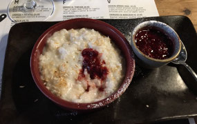 Rice Pudding with Coconut and Raspberry Compote