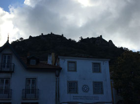 A silhouette of the Moorish Castle above Sintra